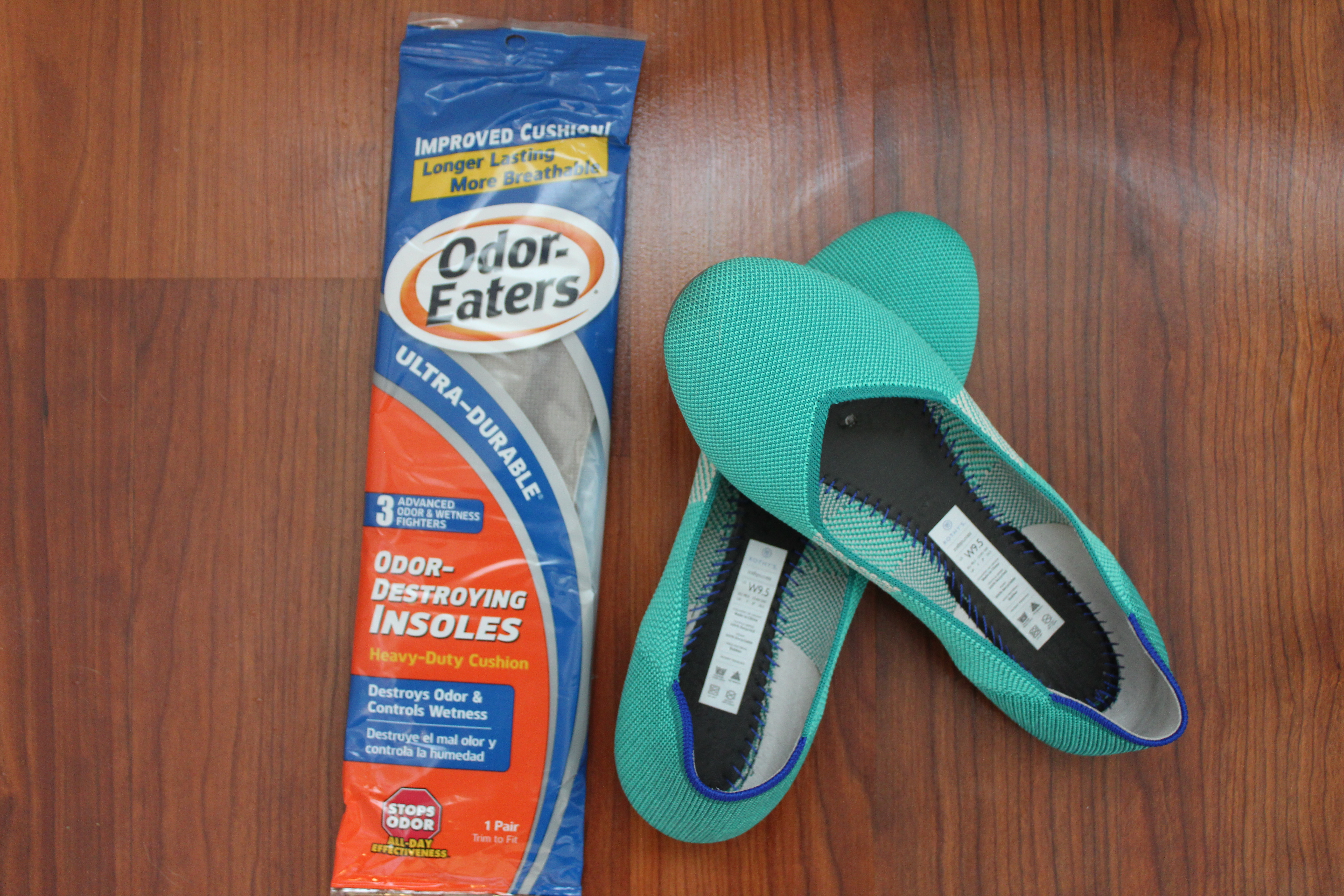 rothys with sole removed; ordor eaters insoles in package