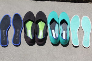 rothys drying in the sun (soles removed)