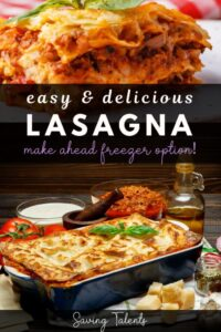"a lasagna with text overlay that reads ""easy and delicious lasagna,"