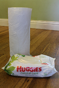 paper towels and baby wipes
