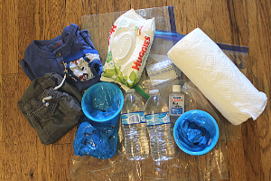 motion sickness kit laid out for kids