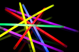 glow sticks on a black background