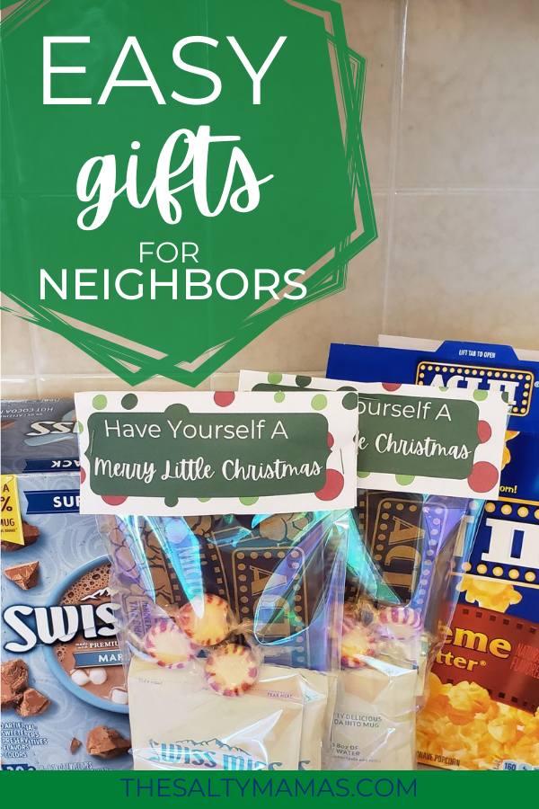 christmas treat bags with text overlay: cheap, easy gifts for neighbors