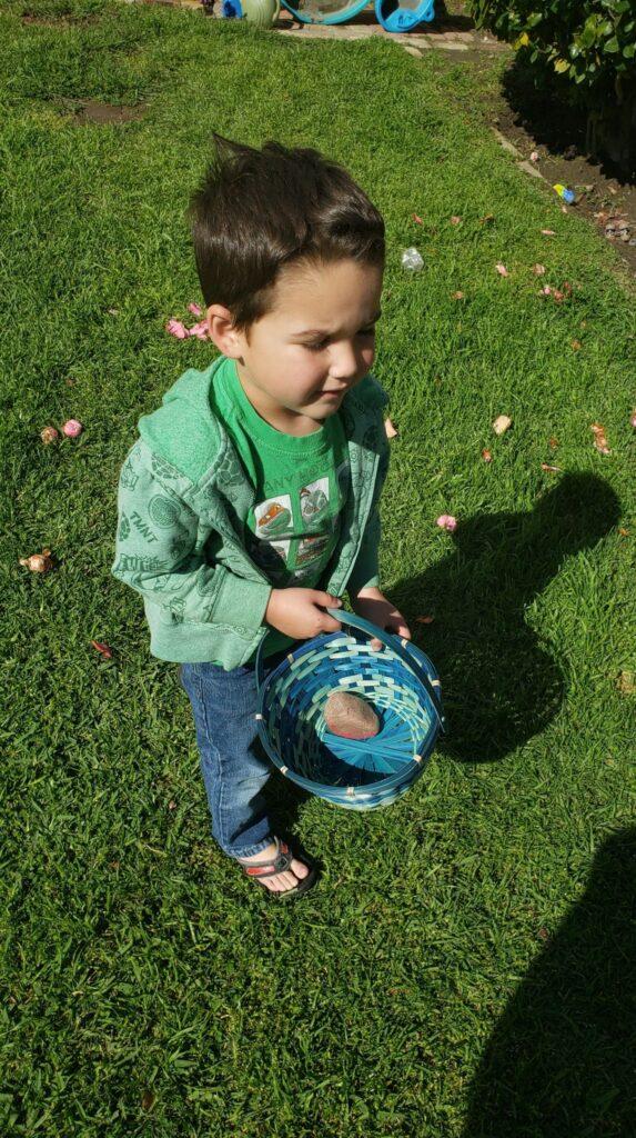 preschooler collecting rocks in a basket