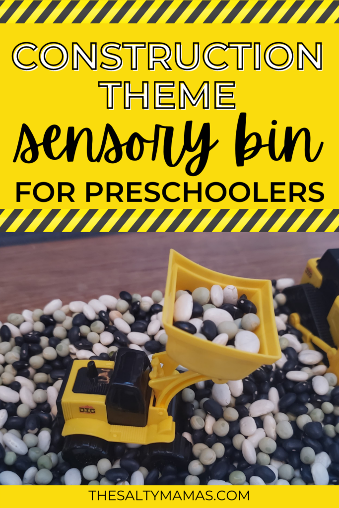 mini construction toys in dried beans; text overlay: construction themed sensory bin