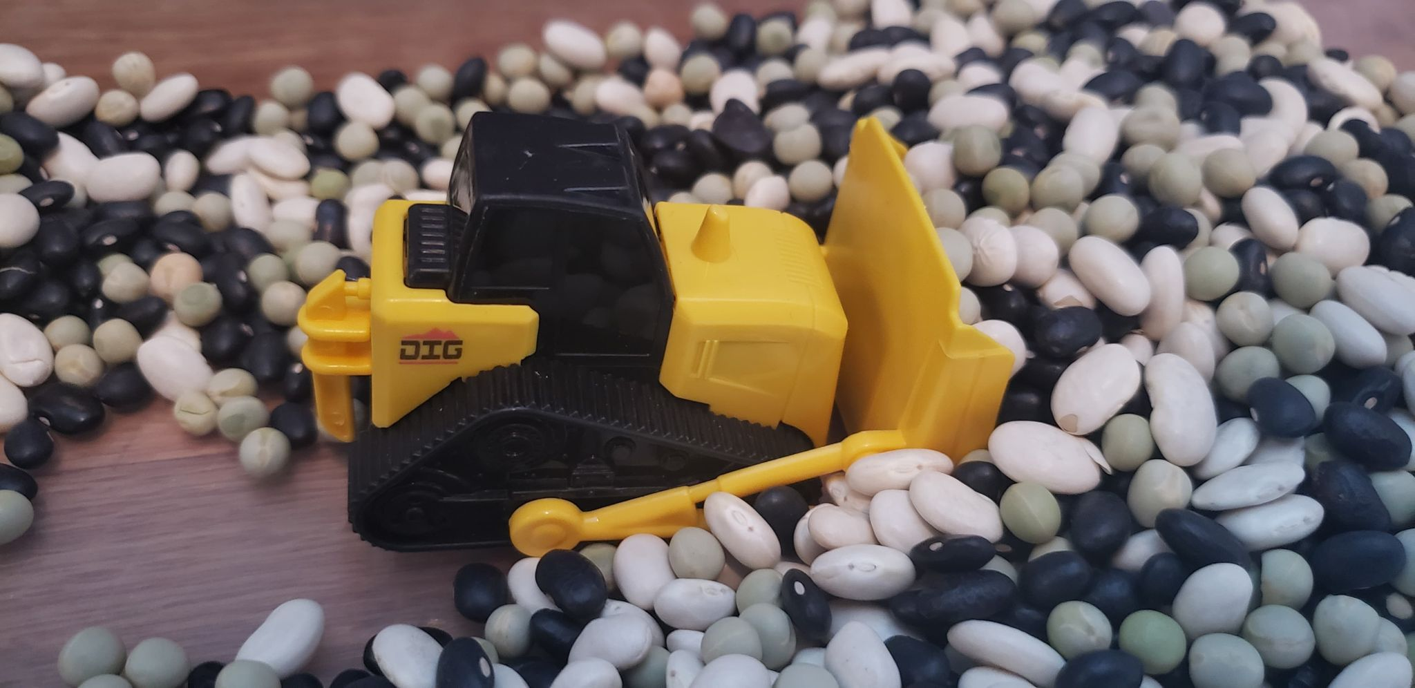 bulldozer in construction sensory bin filled with beans