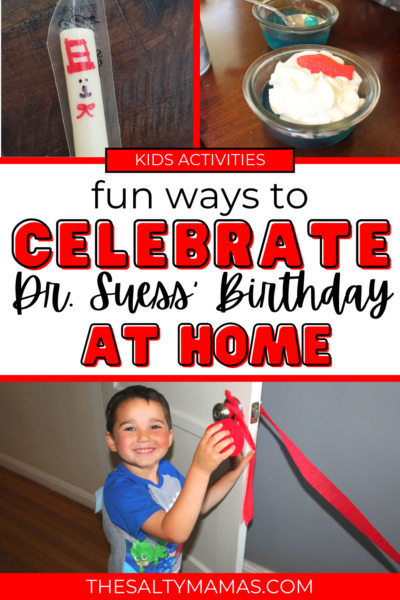 dr. seuss theme activities; text: celebrate dr. seuss birthday at home