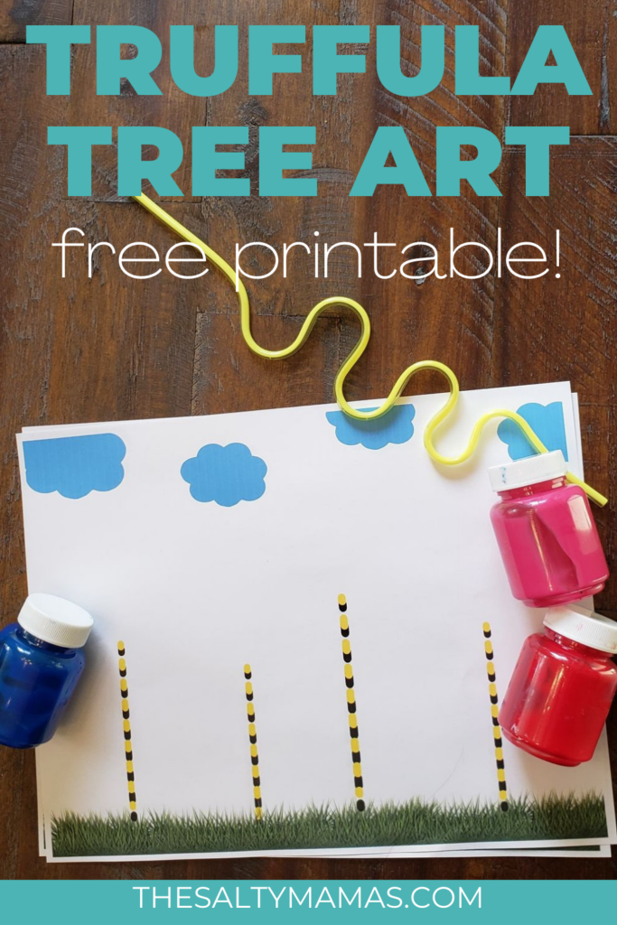 picture of truffula tree printable; text overlay: truffula tree art; free printable