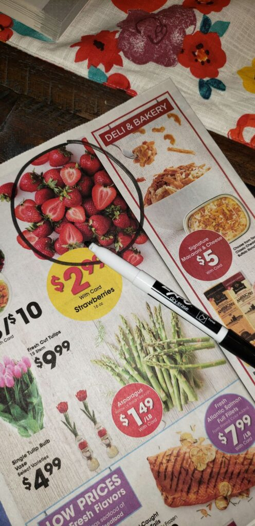 items circled in grocery ad