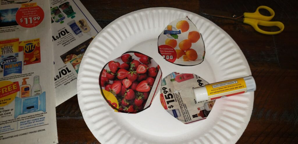 grocery ad items on paper plate