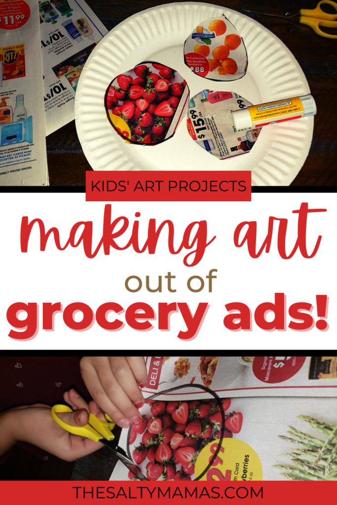 images of grocery ad art project; text: making art of grocery ads