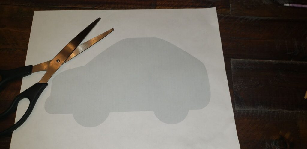 car printable template and scissors