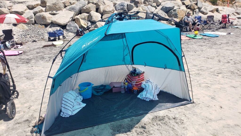 pop up tent at the beach