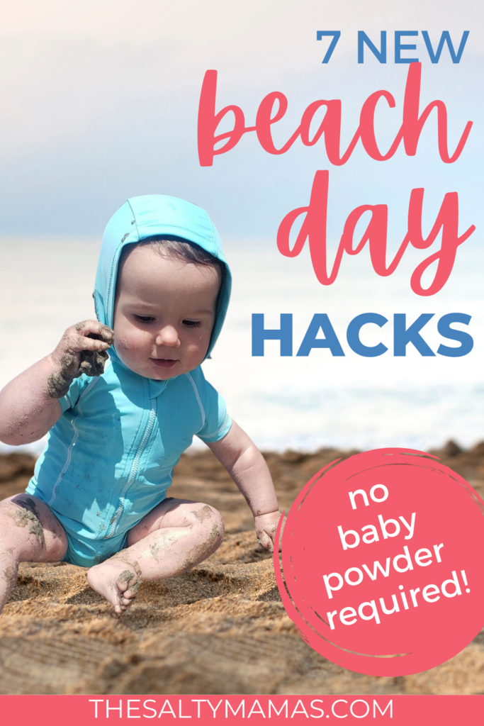 toddler on the beach; text: 7 new neach day hacks