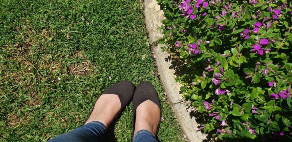 black rothys in green grass
