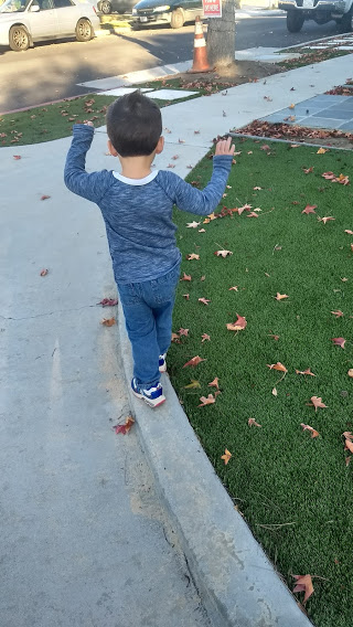 toddler walking on a curb