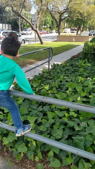 toddler climbing on a railing