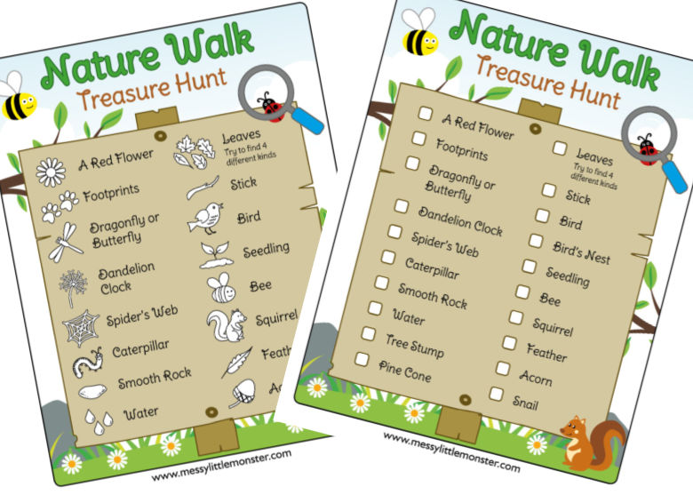 printable nature walk scavenger hunt