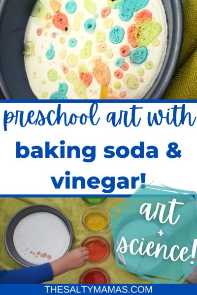 baking soda art; text: preschool art with baking soda and vinegar