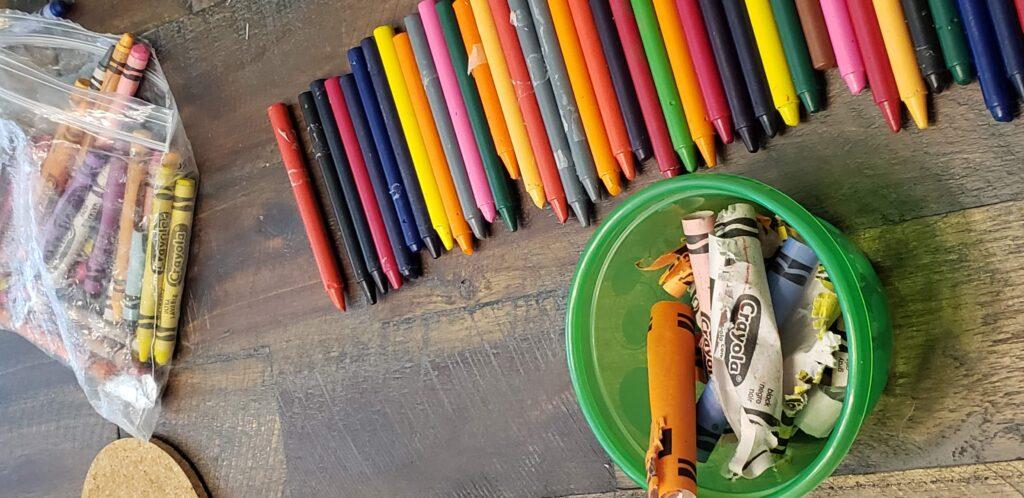 peeled crayons in a ziploc bag