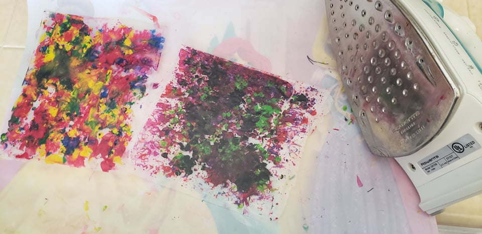 melted crayon shavings cooling