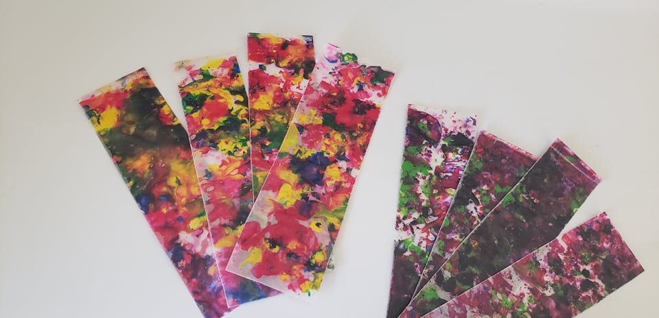bookmarks made from melted crayon shavings