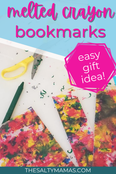 bookmarks made from melted crayon shavings; text: melted crayon bookmarks