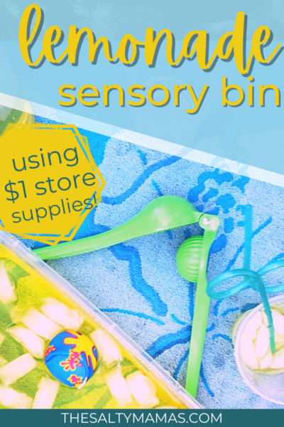 a lemonade themed sensory bin with yellow ice water