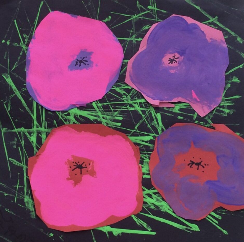 pop art flowers made of paper and paint sticks